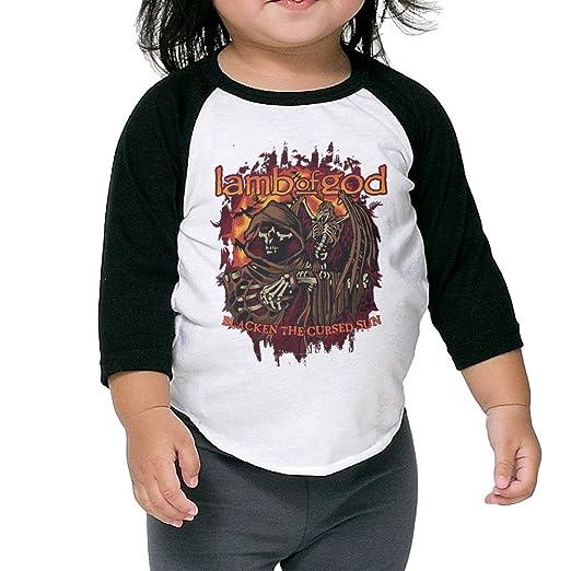 4f58c688 Kids 3/4 Sleeve Lamb Of God American Heavy Metal Band Raglan Shirts Funny  Baseball