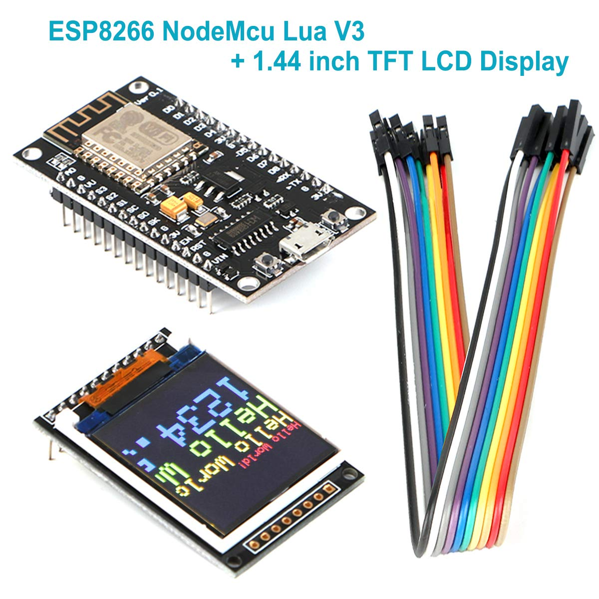 Modulo WiFi Arduino wireless seriale ESP8266 NodeMcu Scheda di sviluppo IOT WI-FI di Ch340 NodeMcu Arduino V3 Lua con display TFT LCD da 1,44 pollici, 128x128 SPI 51 STM32 routine Arduino per Arduino Innovateking-EU