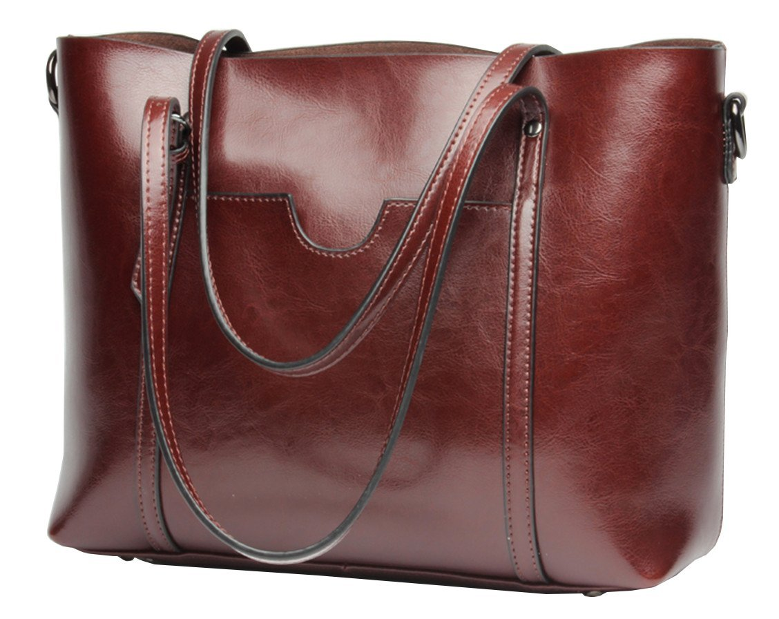 Molodo Womens Satchel Hobo Stylish Top Handle Tote Genuine Leather Handbag Shoulder Purse (Wine-red)