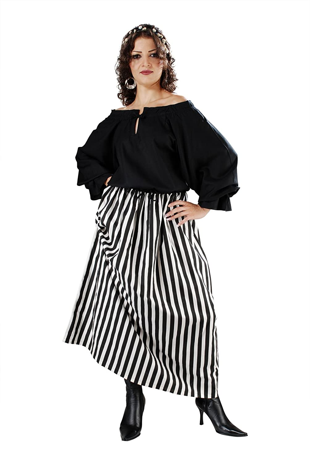 Women's Renaissance Black and White Striped Wench Skirt by Armor Venue - DeluxeAdultCostumes.com