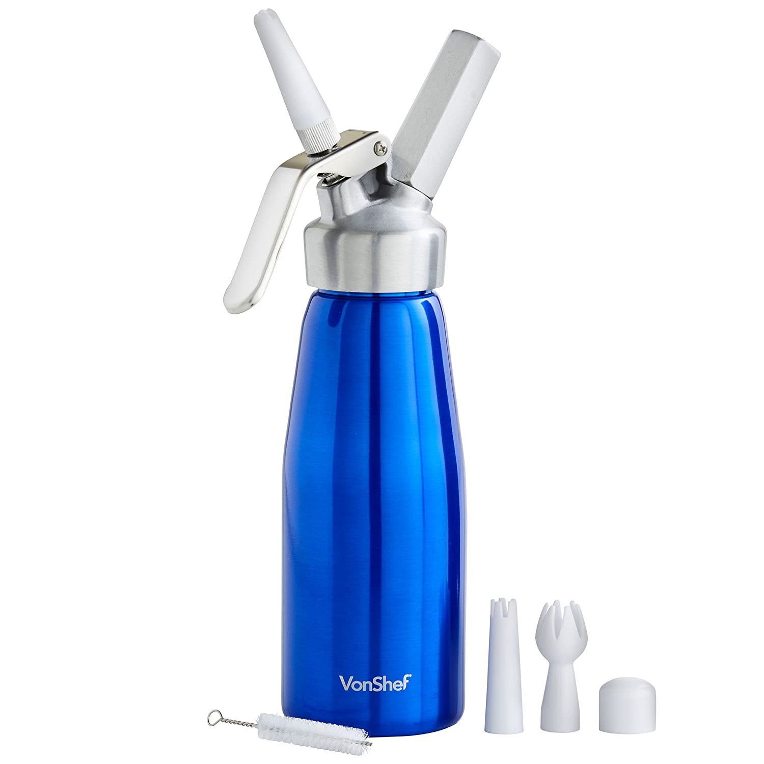 Vonshef 05 Litre Whipped Cream Dispenser With 3 Extra Nozzles And Bebe Dot Bayi Blister Isi Pcs Size M Cleaning Brush Blue Kitchen Home