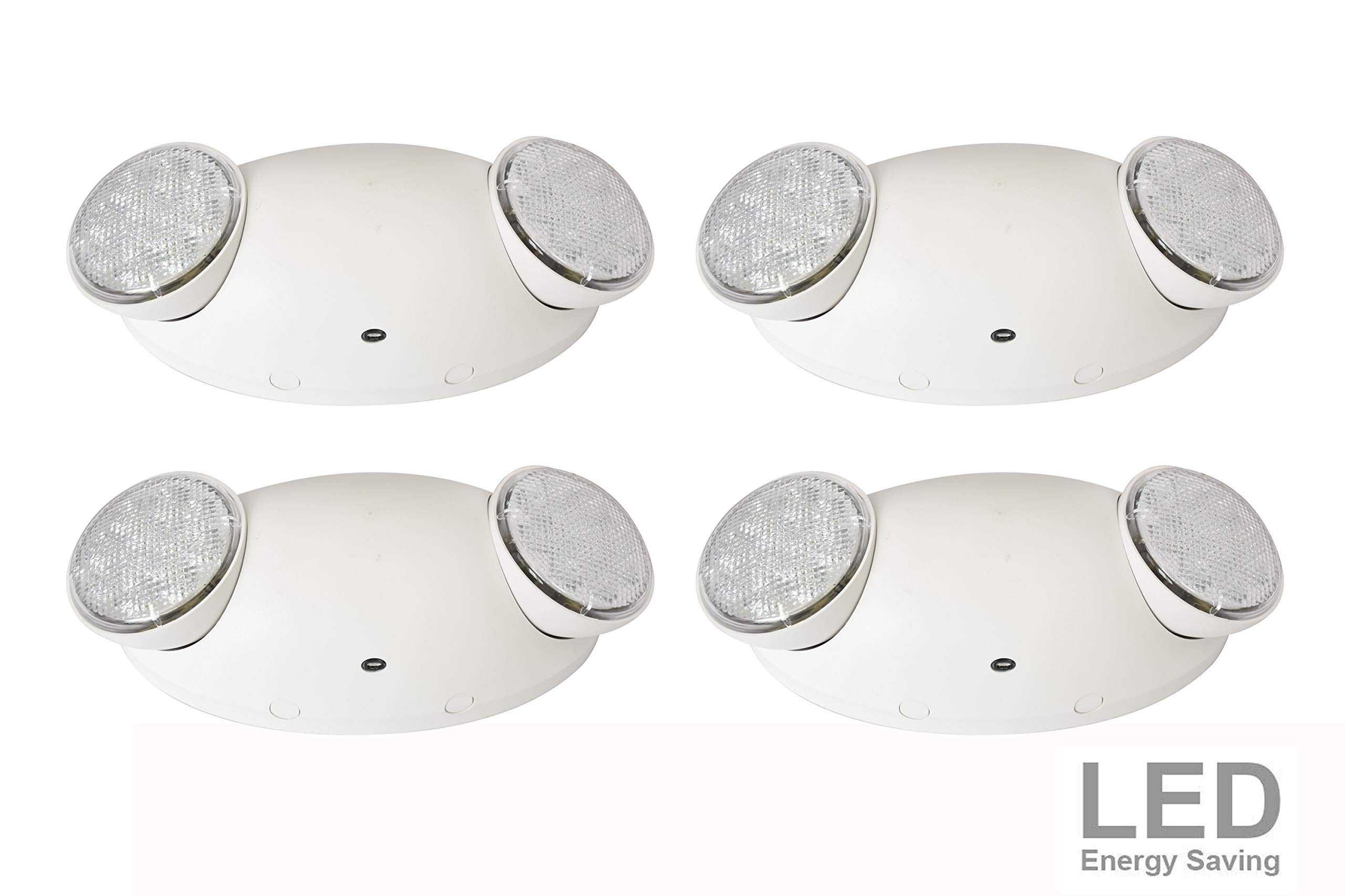 LIT-PaTH LED Emergency Exit Lighting Fixtures with 2 LED Bug Eye Heads and Back Up Batteries- US Standard Emergency Light, UL 924 and CEC Qualified, 120-277 Voltage (4-Pack)