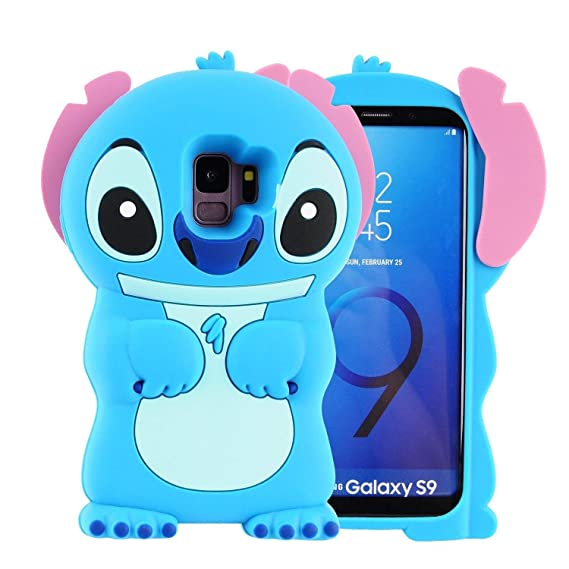 the latest 6be54 c45b9 Blue Stitch Case for Samsung Galaxy S9,3D Cartoon Animal Cute Soft Silicone  Rubber Protective Kawaii Character Cover,Animated Funny Cool Skin Fun ...