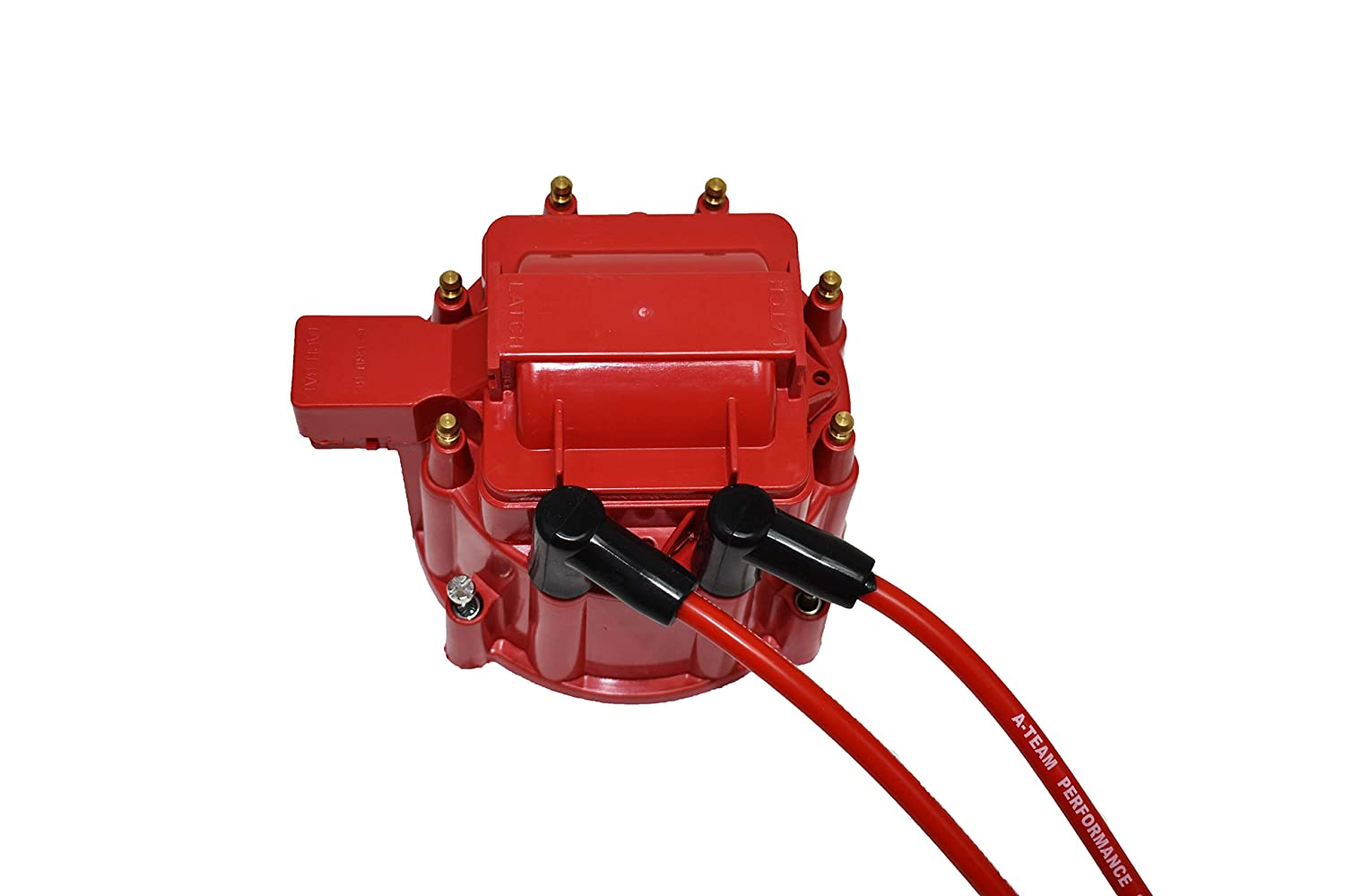 A-Team Performance HEI Distributor 65K Coil Complete w//SBF 8mm Red Silicone Spark Plug Wires and Battery-Pigtail Harness Kit Compatible with SBF 260 289 302 5.0 One Wire Installation Red Cap