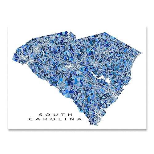 graphic regarding Printable Map of South Carolina known as : South Carolina Map Print, SC Region Wall Artwork
