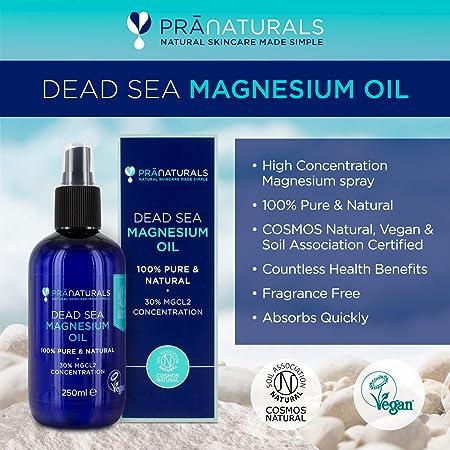 PraNaturals Dead Sea Magnesium Oil Spray 250ml, Ayuda para el sueño natural, ayuda a calmar el dolor muscular y los calambres | Certificación de Cosmos ...
