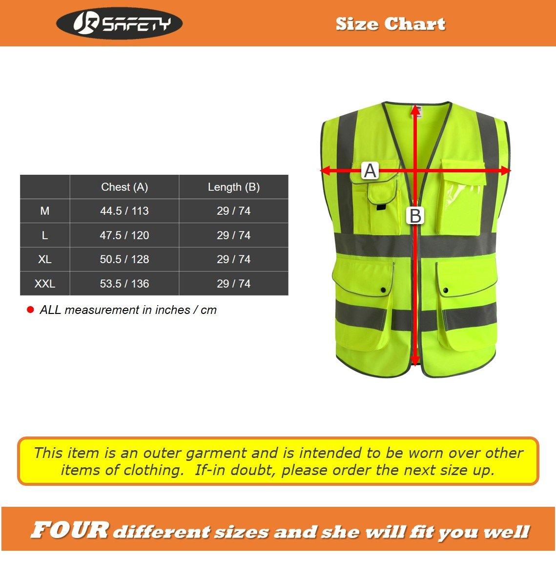 JKSafety Nueve bolsillos Nivel 2 Uniforme trabajo Chaleco con cremallera-Chaleco reflectante fluorescente-Chaleco de segurida(XX-Large): Amazon.es: ...