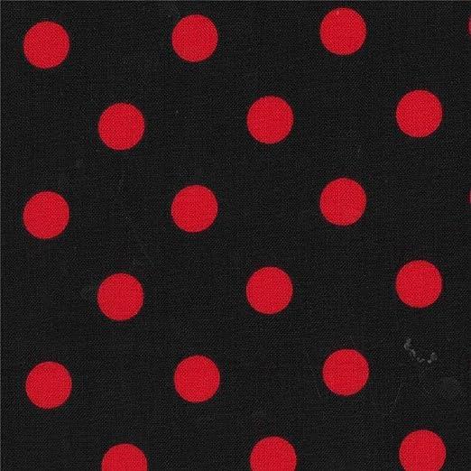tela de algodón negro con lunares rojos: Amazon.es: Amazon.es
