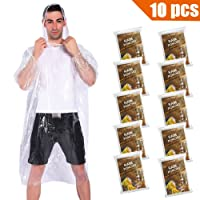 Deals on 10-Pack COOY Rain Ponchos with Drawstring Hood