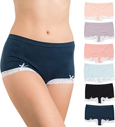 Alyce Ives Intimates Seamless No Show Womens Boyshort, Pack of 6