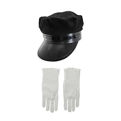 Chauffeur Hat White Gloves Costume Set, Black White, One Size: Clothing