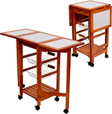 rustic portable kitchen island. Tenive Wooden Folding Dining Trolley Portable Rolling Kitchen Tile Top Storage Cart , Rustic Island A