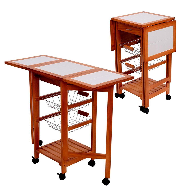 Tenive Wooden Folding Dining Trolley Portable Rolling Kitchen Trolley Tile Top Kitchen Storage Trolley Cart ,Drop Leaf Kitchen Island On Wheels , Drawers Rack Basket Trolley