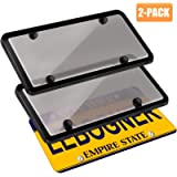 Tinted Car License Plates Shields Frames Combo 2 Packs Clear Smoked Plate Cover Unbreakable Bubble Shields with Frames…