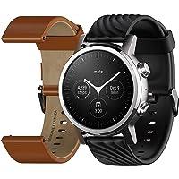 Motorola Moto 360 Smartwatch – 3ª generación – Caja de acero inoxidable con bandas de 20 mm, batería para todo el día…
