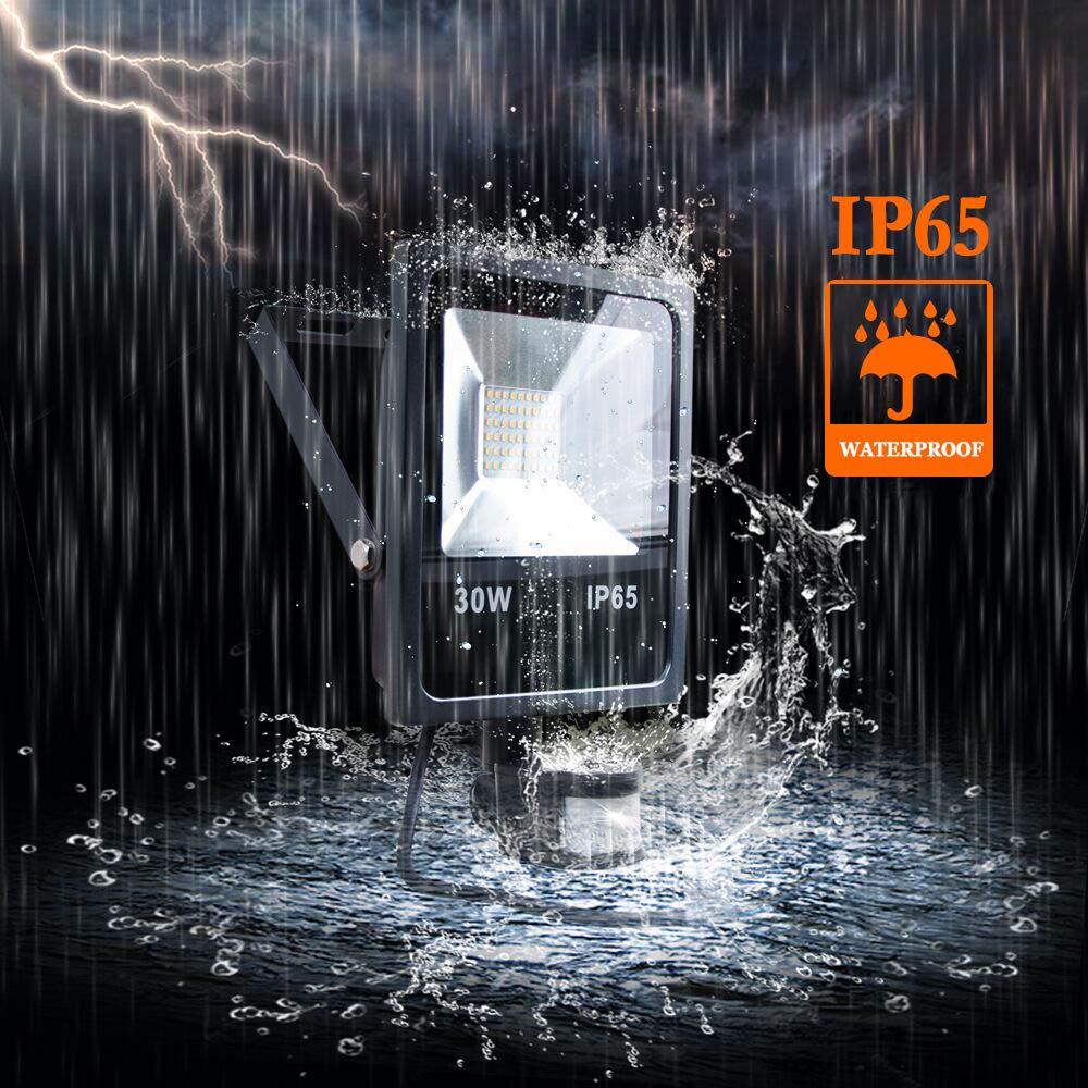 LED Motion Sensor Floodlight, PIR Security Light, 30W, 2400LM High Brightness and 3000K Warm White, IP65 Waterproof LED Lights for Yard, Garden, Garage, Playground, Party (black)