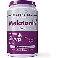 HealthyHey Nutrition Sleep Aid Melatonin 3mg, 120 vegetable capsules - Promotes Sleep and Relaxation (3mg)