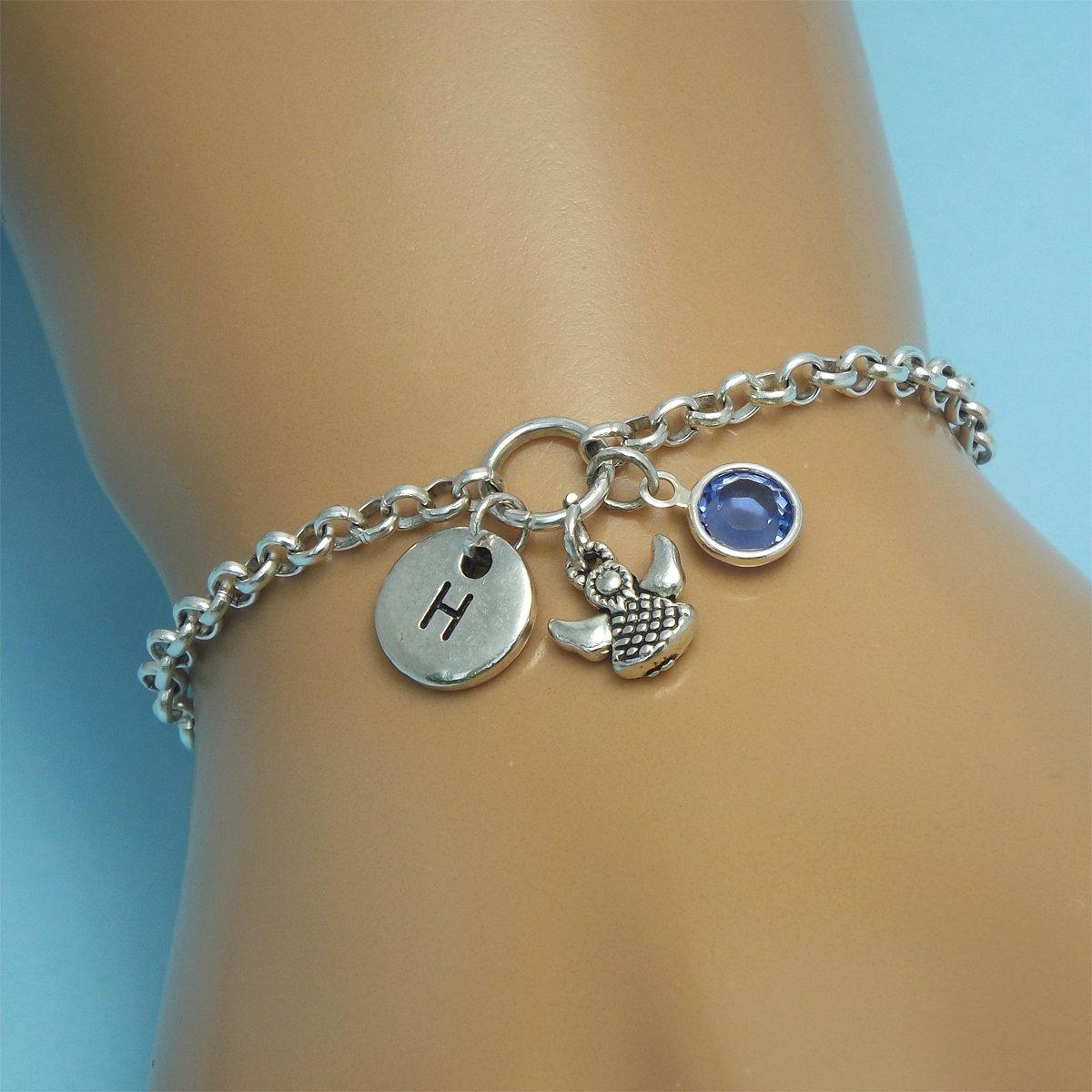 Sterling Silver Rose Quartz Angel Charm Bracelet Guardian Angel Bracelet