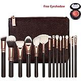 V smile Pinceaux de maquillage 15pcs Professional Rose Set de luxe d'or Marque Make Up Kit d'outils Powder Blend Brosses cosmétiques SET DE LUXE (brun 15pcs)