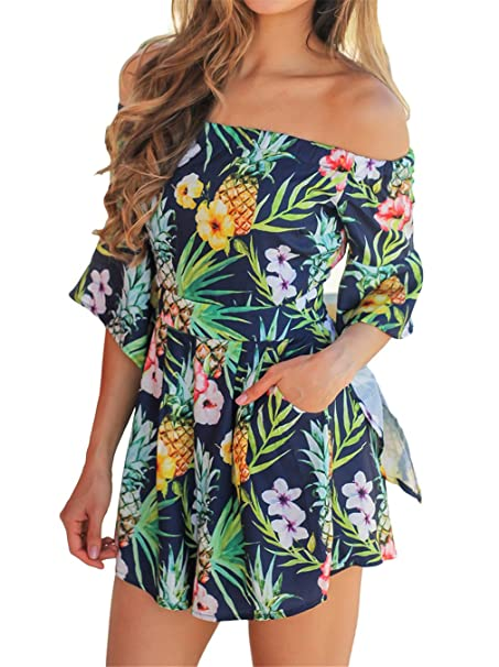cef2f1ef54c Happy Sailed Women Sexy Off Shoulder Floral Print Strapless Romper Beach Short  Jumpsuit Large Green