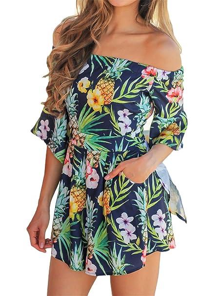 86d381beb5d5 Happy Sailed Women Sexy Off Shoulder Floral Print Strapless Romper Beach Short  Jumpsuit Large Green