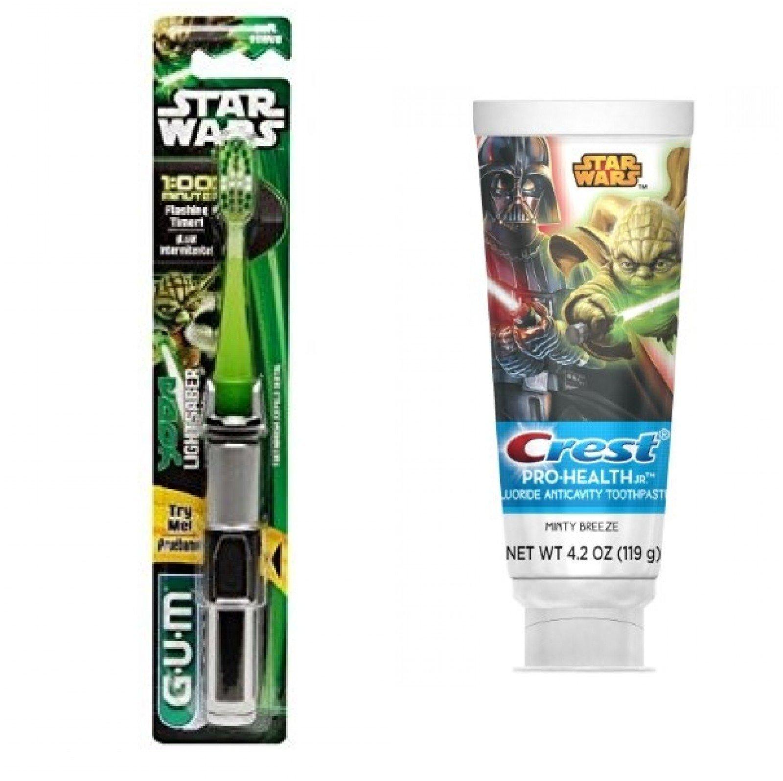 Gum Star Wars YODA Powered Light Up Lightsaber Soft Toothbrush + Crest Pro-Health Disney Star Wars Kids Minty Breeze Toothpaste, 4.2 Oz