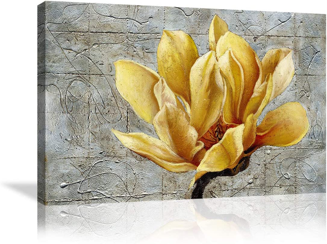 Urttiiyy Yellow Grey Flower Wall Art Abstract Gray Background Print on Canvas Home Decor Decal Pictures Poster for Bedroom Living Room Printed Painting Gifts Framed Ready to Hang - 36''x24''