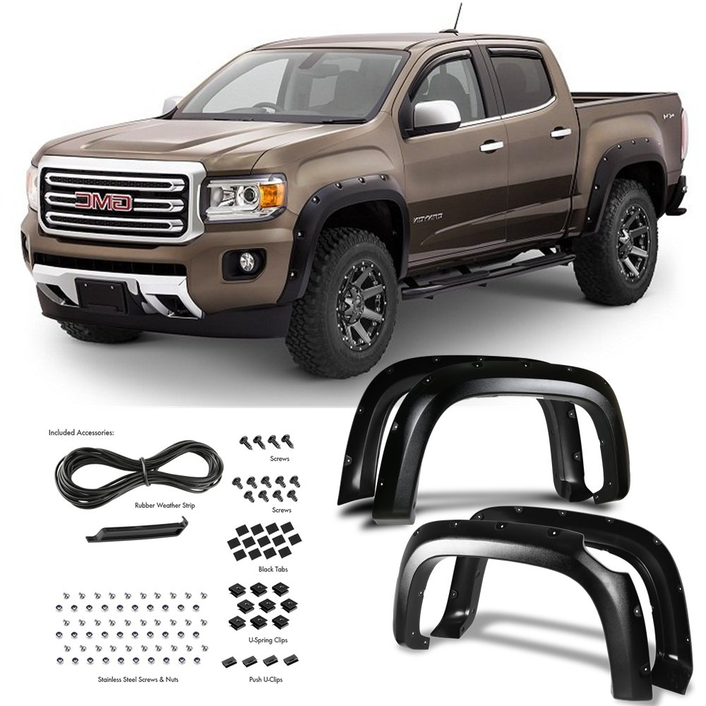 Textured Black Super Drive for 2015-2018 Chevy Colorado 62.7 Bed Pocket Riveted Fender Flares Bolt On 4 Pieces Set Black Smooth//Textured Finish