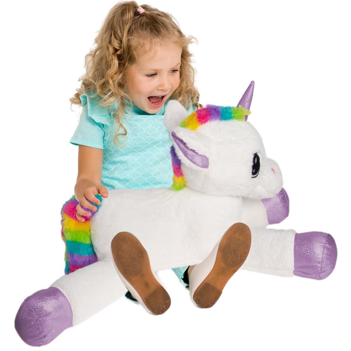 Gitzy 25 Inch Large Rainbow Unicorn Stuffed Animal Girls Kids Toddler Plush Toy Pillow Home Travel