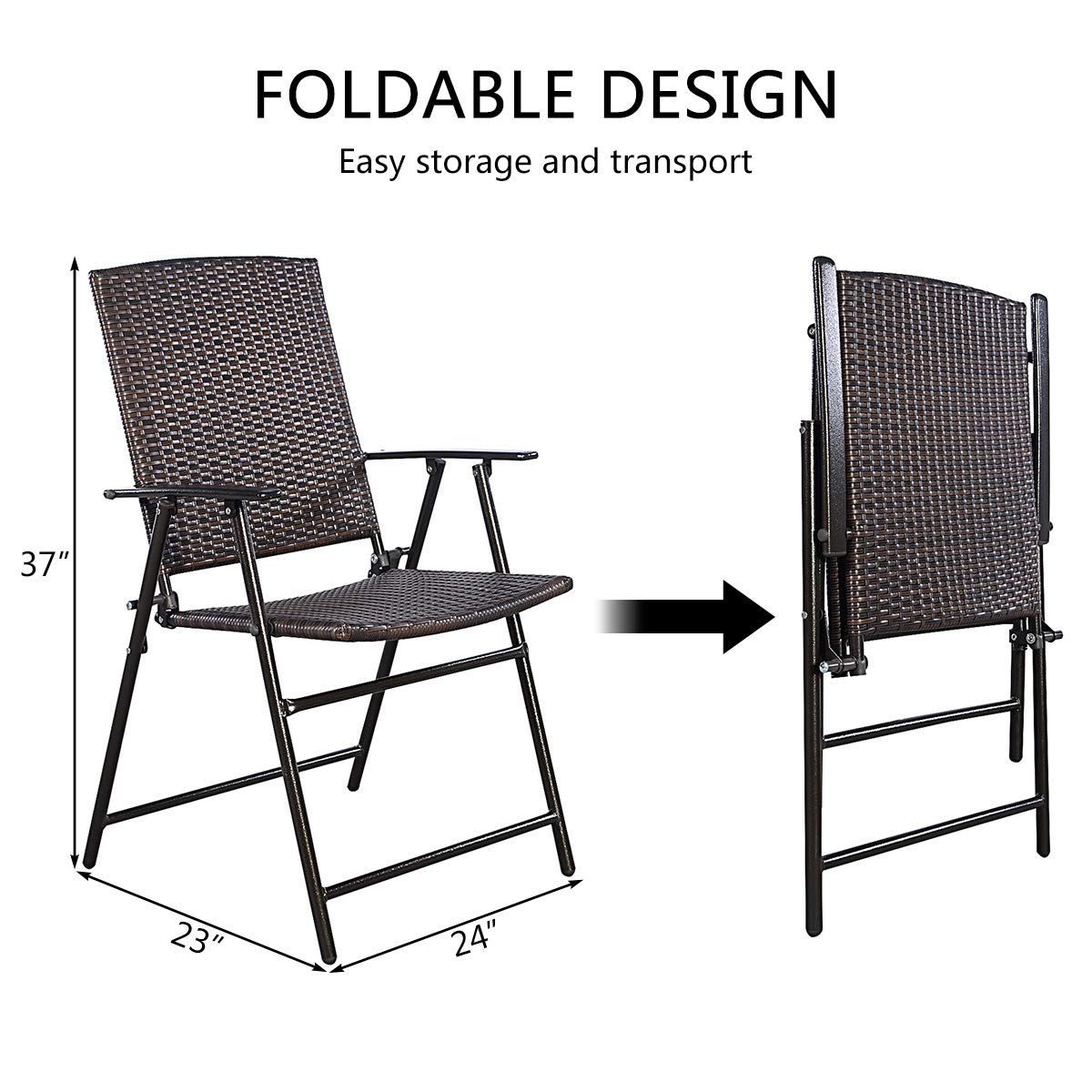 Tangkula 4 PCS Folding Patio Chair Set Outdoor Pool Lawn Portable Wicker Chair with Armrest & Footrest Durable Rattan Steel Frame Commercial Foldable Stackable Party Wedding Chair Set (24X23X37) by Tangkula (Image #7)