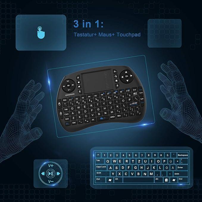 TICTID 2.4GHz Mini Teclado inalámbrico Touchpad ratón Compatible con Raspberry Pi Android Box,Google Box,Pad PC Smart TV Control Remoto: Amazon.es: Electrónica