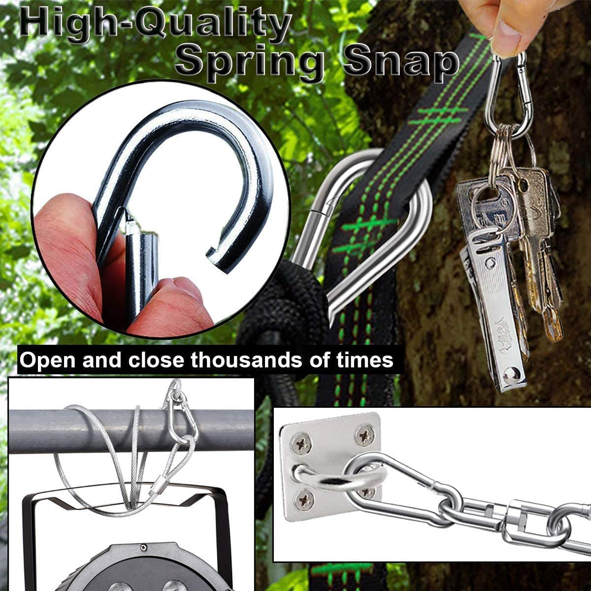 Outdoor and Gym Hiking Kuesn 4 Pack Spring Snap Hook Carabiner Stainless Steel 304 Screw Lock Silver Quick Link Clip Keychain for Camping Small M6 Carabiners for Dog Leash /& Harness Sliver
