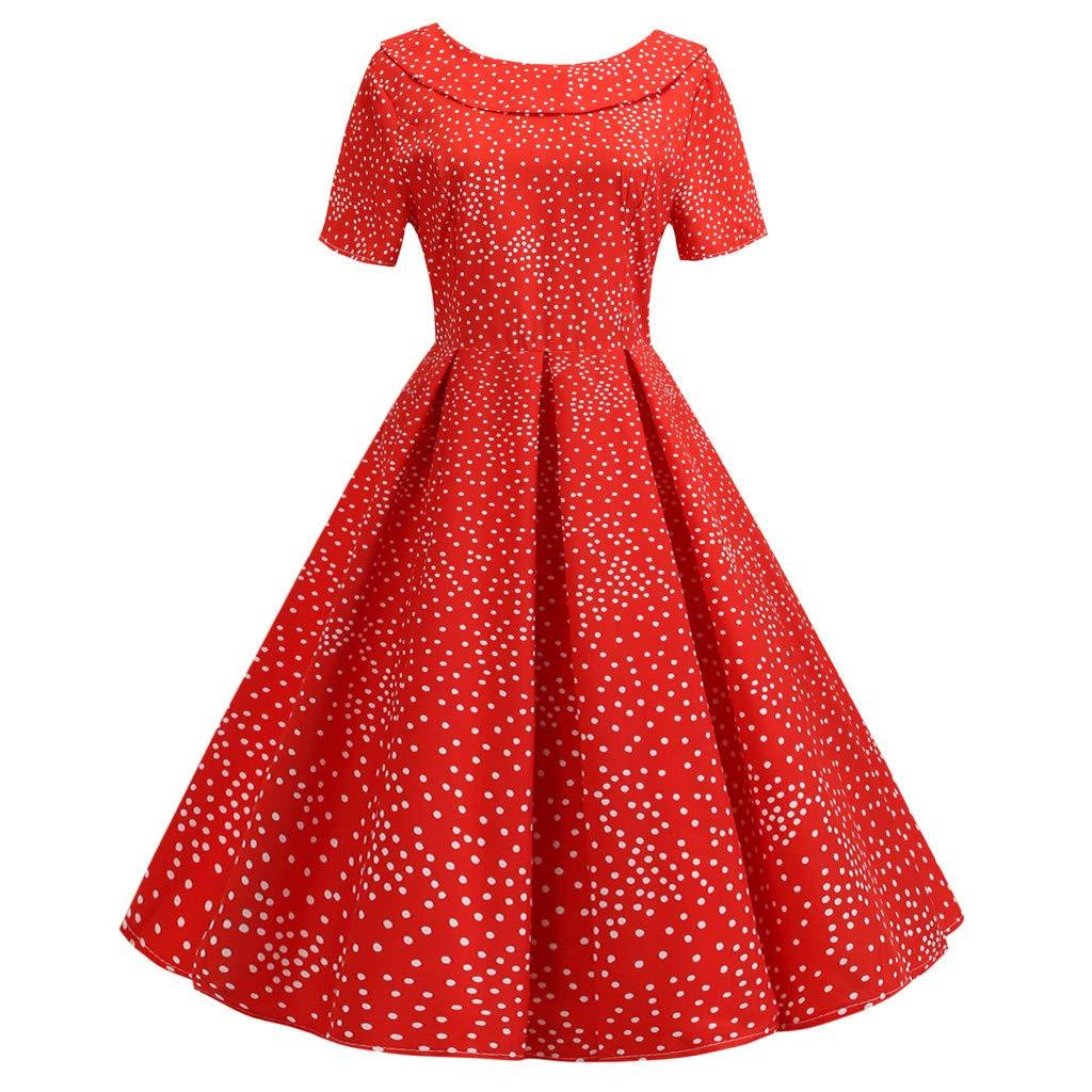 Sttech1 Women Short Sleeve Doll Collar Dress Heart Print Back Bowknot Hepburn Party A-line Swing Dress Red
