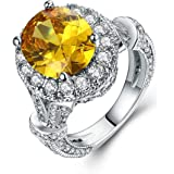 Oval Halo Ring, Yellow and Clear Cubic Zirconia
