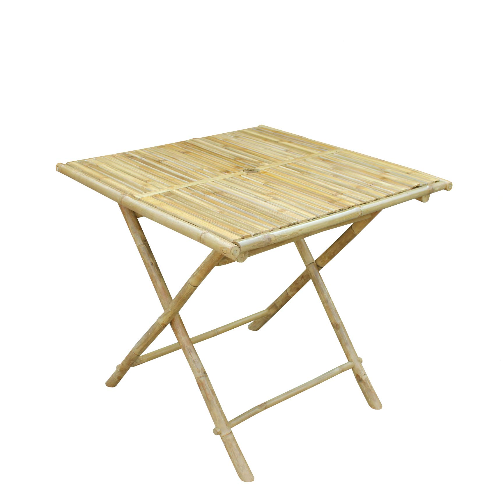 Zero Emission World Bamboo Hand Crafted Collapsible Table, Square