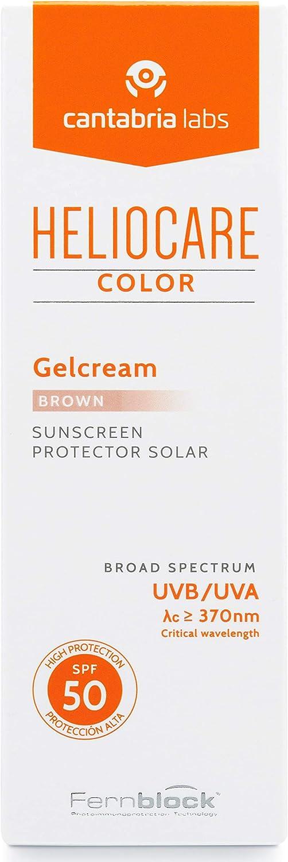 Heliocare Color Gelcream SPF 50 - Fotoprotección Avanzada con Color, Fluido Hidratante en Textura Gel, Acabado Natural, Pieles Normales y Secas, Tono Brown, 50ml