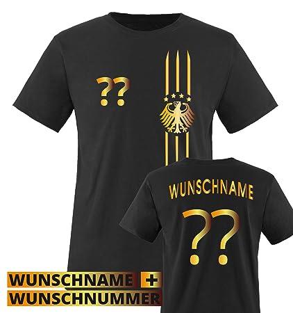 Comedy Shirts Kinder Fußball T-Shirt bedruckbar - Wunschname & Nummer - WM/EM/Deutschland - Rundhals Tshirt für Mädchen & Jun