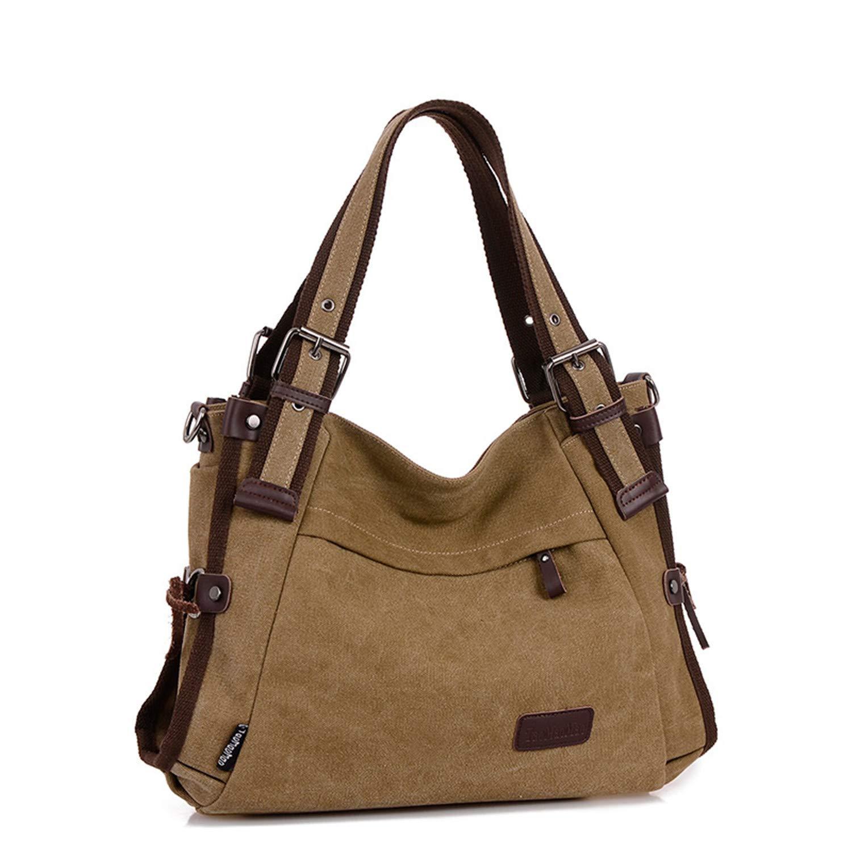 b1798d96bd Women s Vintage Heavy Duty Canvas Top-handle Handbag Large Tote Purse  Travel Hobo Shoulder Bag for Women with Adjustable Shoulder Strap (Khaki)   ...