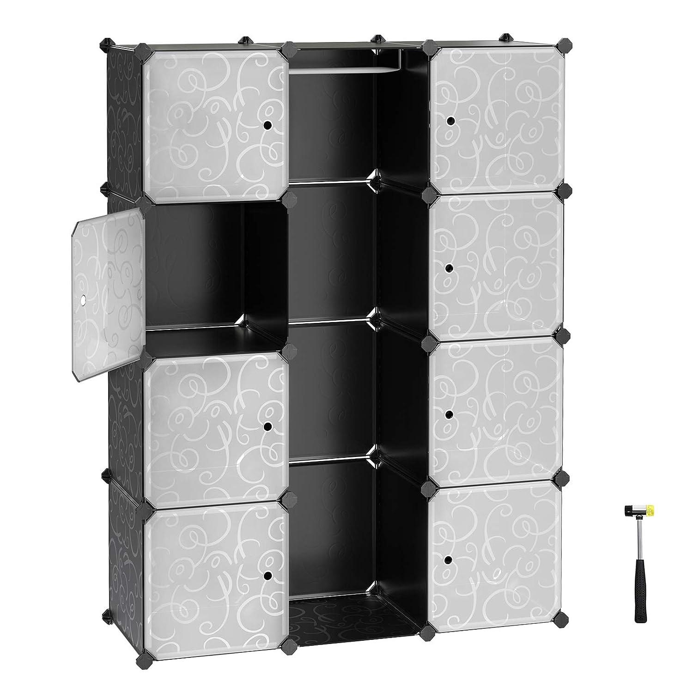 d356e07ba69d SONGMICS Interlocking Storage Cube Organiser Clothes Wardrobe Cabinet with  Hanging Rail 108 x 36 x 143 cm Black LPC30B