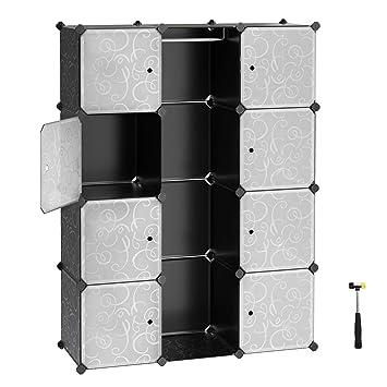 SONGMICS Kleiderschrank Kunststoff Garderobenschrank Steckregalsystem Kapazität 590L Schwarz mit Dekor 143 x 108 x 36 cm LPC3
