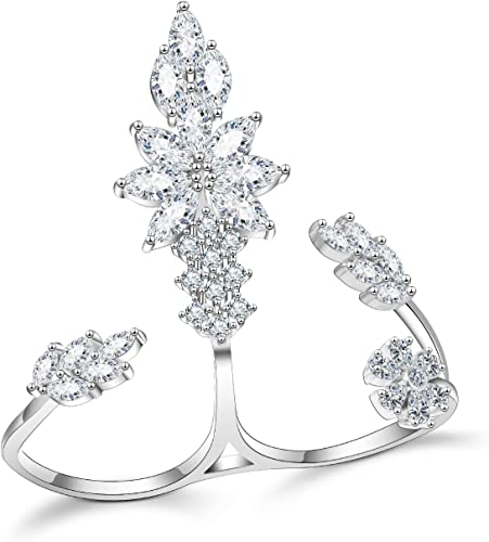 Pave Clear AAA Cubic Zirconia Crown Style Knuckle Ring-Rhodium Plated-Gorgeous