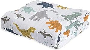 Little Unicorn Cotton Muslin Blanket Quilt- Dino Friends, Blue, Green, Navy