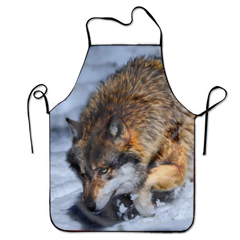Eartha Tracy 手描き ハロウィン 調節可能 よだれ掛け キッチン エプロン 女性用 調理や掃除に最適 One Size  Wolf on Snowy Mountain13 B07G975HTQ