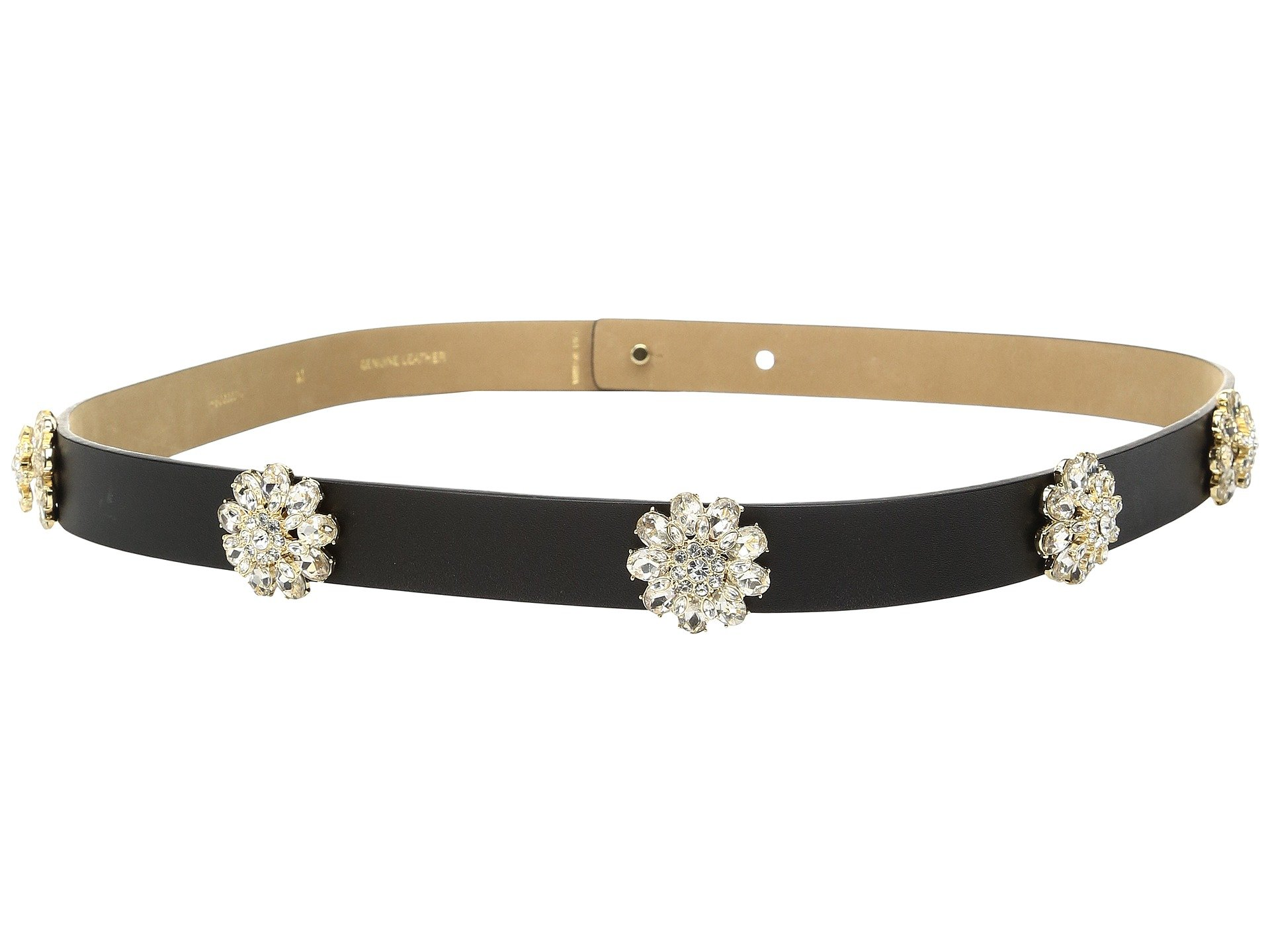 Kate Spade New York Women's 7/8'' Calf Belt with Brooch Rivets Black/Crystal Stone Belt