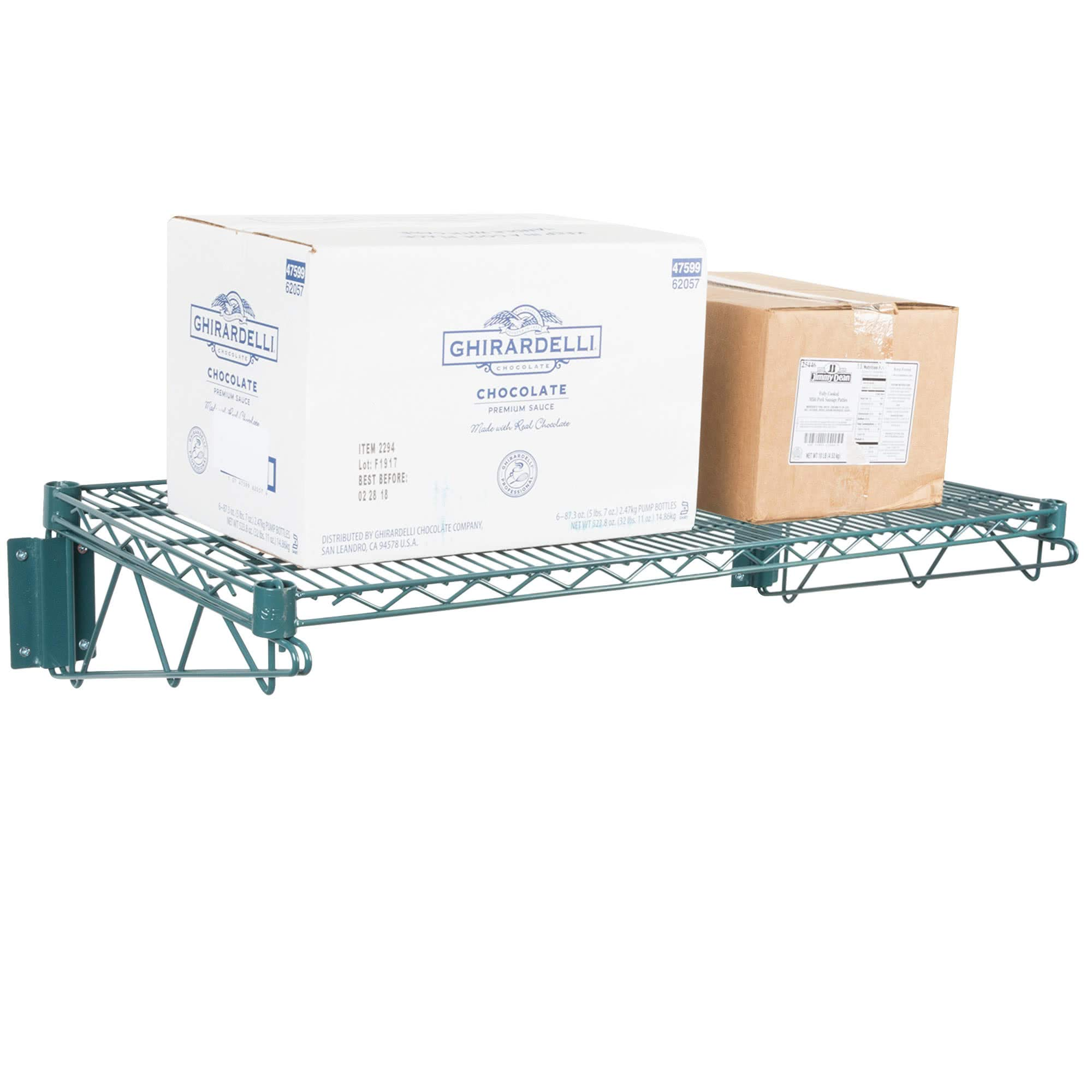 Green Epoxy Coated Wire Wall Mount Shelf 24 x 60 - NSF - Commercial by KPS (Image #4)