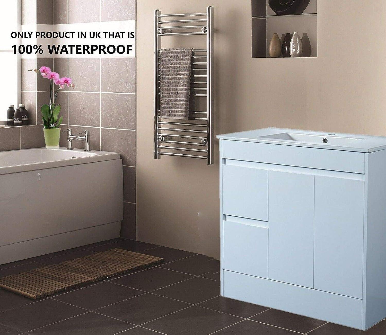 Sorrento Bathrooms 900mm Bathroom Furniture 100% Waterproof High Gloss Free Standing White Vanity Unit with ceramic Basin Complete Set