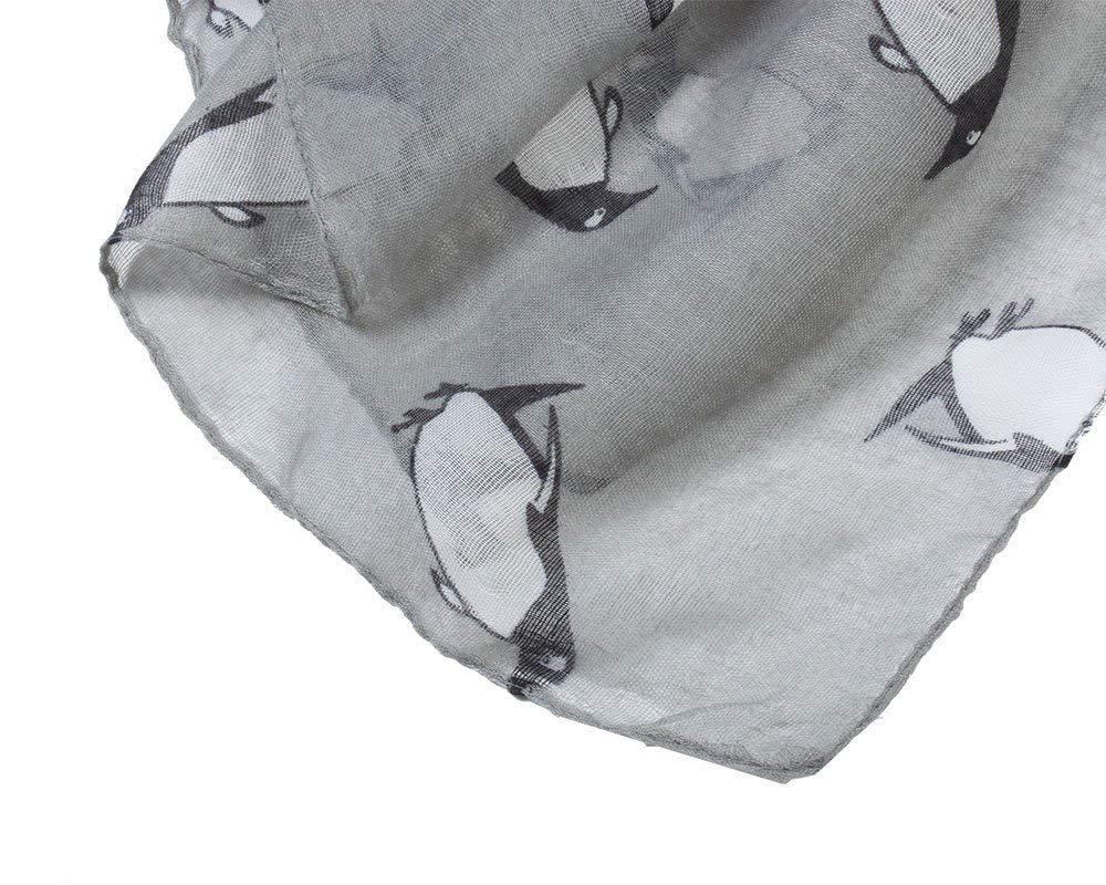 Sciarpa leggera con stampa pinguini Grau