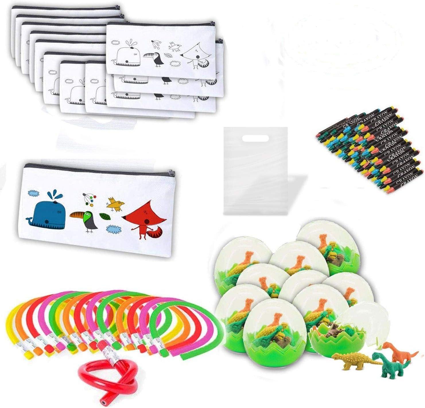 🎁 Lote 15 Estuches para colorear ➕ 15 set de ceras ➕ 15 lápices flexibles ➕ 15 huevos con gomas de borrar: Amazon.es: Juguetes y juegos