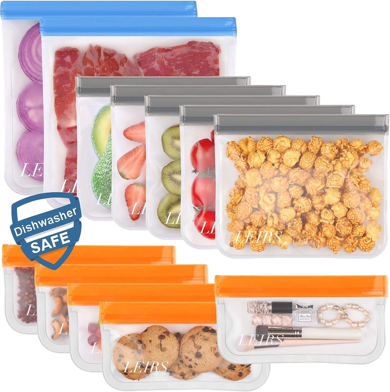 Dishwasher Safe Reusable Storage Bags,12 Pack BPA Free Reusable Freezer Bags (5 Reusable Sandwich Bags, 5 Reusable Snack Bags, 2 Reusable Gallon Bags), Leakproof Lunch Bag for Food Storage
