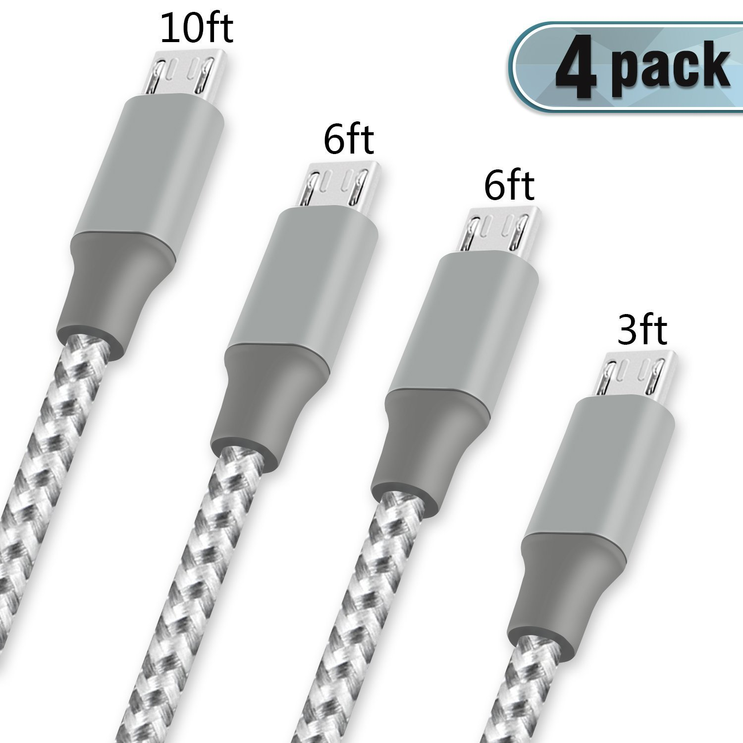 Youer Micro USB Cable,4Pack 3FT 6FT 6FT 10FT Nylon Braided Android Charger USB to Micro USB Charging Charger Cord for Samsung Galaxy S7 Edge/S7/S6/S4/S3,Note 5/4/3(Gray White)